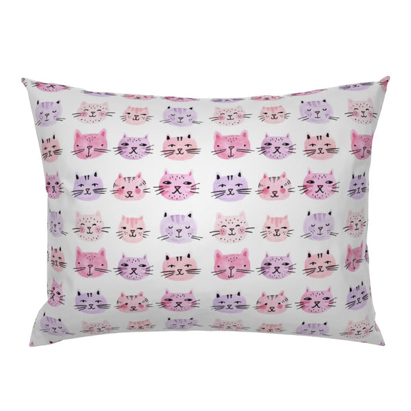 Watercolor Cat Purple Cats Nursery Decor Lady Pink Pillow Sham by Roostery