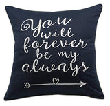 "YugTex Pillowcase Love Pillow Navy Pillow Rustic Wedding Decor Bridal Shower Gift Farmhouse Decor Gifts for Her Valentine's DayGift for Husband Valentine's Decor Wife Gift(12""x18"", Love(Navy))"