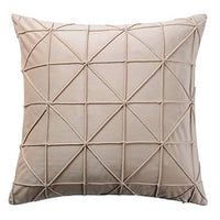 JWH Handmade Geometric Accent Pillow Cases Velvet Cushion Covers Decorative Pillowcases Luxury Shell Home Bed Living Room Decoration Sheets 14 x 24 Inch Creamy White