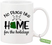 Gift Coffee Mug Cup Personalized Year State No Place Like Home For The Holidays Christmas Winter Xmas Decorative Housewarming Decor Gift Idea Ceramic White Mug