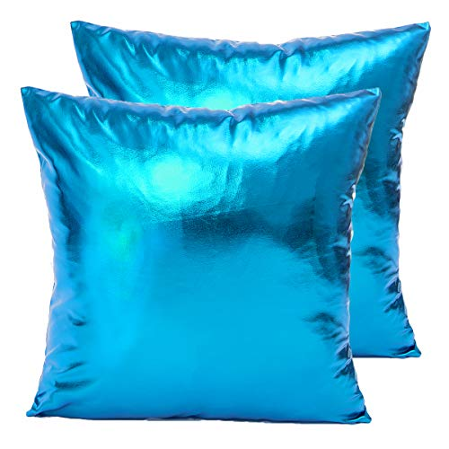 LiiZee Pack of 2 Decorative Throw Pillow Covers Modern Metallic Shiny Cushion Cover, Faux Leather Soft Square Pillowcase for Sofa/Bed/Party, 18 x 18 Inch Silver