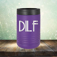 DILF - Engraved 12 oz Stemless Wine Tumbler Cup Glass Etched - Funny Birthday Gift Ideas for him her Valentines Day Flowers Girlfriend Boyfriend (Black - 12 oz)