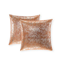 Xinrjojo Gift, Super Soft Sparkling Decorative Solid Color Square Cushion Cover Handmade Pillowcase with Hidden Zipper, 2 Packs, 18x18 inch(Silver- Champagne)