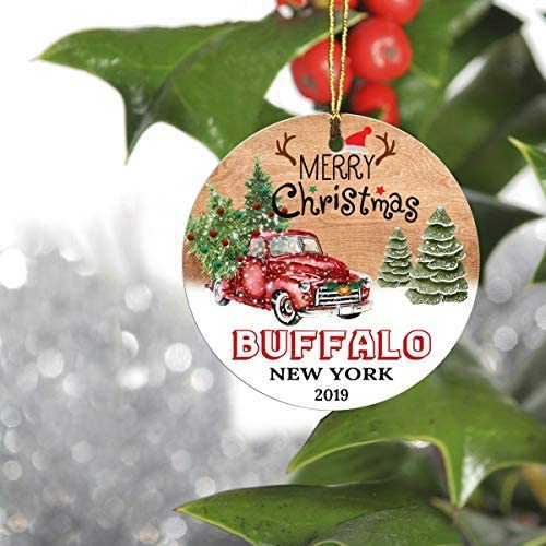 "Merry Christmas Tree Decorations Ornaments 2019-Ornament Hometown Buffalo New York NY State-Keepsake Gift Ideas Ornament 3"" for Family, Friend and Housewarming"