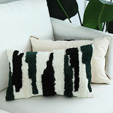 "Tufted Decorative Throw Pillow Cover - Square Boho Tribal Pillowcase, Cotton Woven Morocco Décor Pillow Case, Accent Pillow for Sofa Couch Bed, 12""x20"", White Coffee Black"