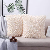 "MoMA Decorative Throw Pillow Covers (Set of 2) - Pillow Cover Cushion Cover - Off White Cream Throw Pillow Cover - Decorative Sofa Throw Pillow Cover - Square Decorative Pillowcase - Cream - 18"" x 18"""