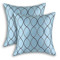 CaliTime Pack of 2 Cushion Covers Throw Pillow Cases Shells for Home Sofa Couch Modern Waves Lines Embroidered 18 X 18 Inches Light Blue