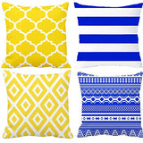 "BJYHIYH Decorative Throw Pillow Covers 18""x18""Grey and Yellow Flowers Cushion Cover Soft Polyester Square Throw Pillow Case for Living Room Sofa Couch Bed Pillowcases Set of 4"
