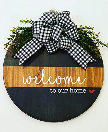 Welcome To Our Home - Wreath with Greenery - Split Brown Black - Door Sign - Gift for Housewarming