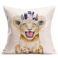Asamour Throw Pillow Covers Adorable Animal Elephant Baby Wearing Feather Wreath Cushion Cover Decorative Cotton Linen Outdoor Decor 18''x18'' Square Accent Pillow Cases for Sofa Baby's Room