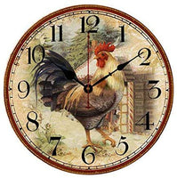 Moonluna Farm Country Colorful Rooster Vintage Wood Wall Clock Decorative Home Design Unique Housewarming Gifts 12 Inch