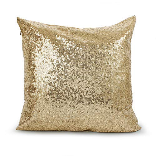 "Saisong Gold Decorative Square Pillow Covers Sequin Pillow Case Throw Pillow Cushion Case Pillowcases for Sofa Bed Car Kids Wedding/Christmas 18""x18""(4 Pack)"