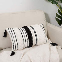blue page Morocco Tufted Boho Throw Pillow Covers 18X18 Inch - Bohemian Woven Pillow Cases, Accent Pillows for Bed, Modern Tribal Textured Decorative Square Pillows Cover ONLY (Black Off White)