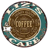 Liz'S Coffee Cafe Chic Tin Sign Rustic Shabby Vintage Style Retro Kitchen Bar Pub Coffee Shop Man cave Decor Mother's Day Father's Day Housewarming Gift Ideas