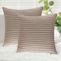"Yeadous Decorative Jacquard Wave Gold with Gold Accents Throw Pillow Covers, 2 Pack Velvet Pillow Cover Sham Cushion Cover, Sofa Couch Throw Pillow Cover, Square Pillowcase-Gold 18"" x 18"""