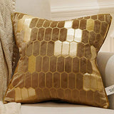 Avigers 18 x 18 Inch Plaid Embroidery Velvet Cushion Cover Luxury European Pillow Cases Pillowcase Home Decorative for Sofa Chair Bedroom Throw Pillow, Brown