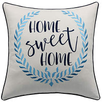 "YugTex Bless This Home Quote Embroidered Decorative Cotton Natural Accent 18x18 Pillowcase for Housewarming Sofa Porch Couch Entryway Living Room Bedroom Chair (18""x18"", Bless Home(Natural))"