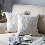 Decorative Throw Pillow Covers for Couch Sofa Bed, 2 Pack 100% Cotton Square Pillow Cases, Woven Tufted Pillowcases with Tassels, Accent Boho Cushion Covers for Farmhouse, Kids, 18 x 18 Inch Grey