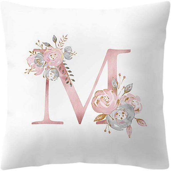 Konxxtt Throw Pillow Case, Rose Gold Pink 26 Letters Floral Cushion Cover Home Girls Room Sofa Decor Modern Pillow Slip (18x18 / 45x45cm, M)