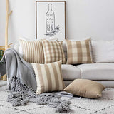 Home Brilliant Decorative Throw Pillow Covers Set of 5 Mother's Day Decoration Farmhouse Striped Textured Linen Burlap Pillow Cases Cushion Cover for Couch, Oatmeal, 18x18 inch (45cm)