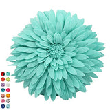 Flower Decorative Pillow - 3D Daisy Flower Pillow, Sunflower Throw Pillow -14.5 x 13 inch Round Decor Pillow - Flower Home Decorations - Couch & Bed Flower-Shaped Pillow (Case Only, Solid Aqua)