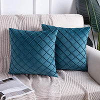 Phantoscope Pack of 2 Velvet Decorative Pleated Throw Pillow Covers Soft Solid Square Cushion Case for Couch Green, 18 x 18 inches 45 x 45 cm