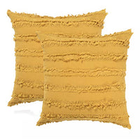 Decorative Throw Pillow Covers for Couch Sofa Bed, Soft Cotton Linen Cushion Covers with Decor Fringe, Accent Pillow Cases for Bed, 18 x 18 Inches, Pack of 2, Mustard Yellow