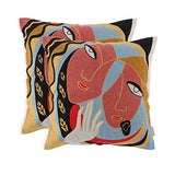 EverGrace Cotton Embroidery Throw Pillow Covers for Sofa Couch Bed Home Decor, 2-Pack Abstract Art Cat Decorative Pillow Covers 18x18 inches