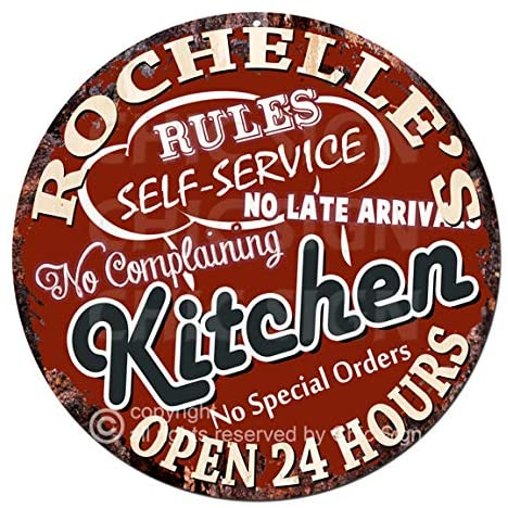 Rochelle'S My Rules Kitchen Rules Self Service Open 24 Hours Chic Tin Sign Birthday Valentine's Day Mother's Day Christmas Housewarming Party Gift for Women Coffee Nook Decor Ideas