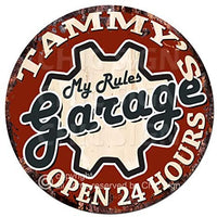 Tammy'S My Rules Garage Open 24 Hours Chic Tin Sign Birthday Valentine's Day Mother's Day Christmas Housewarming Party Gift for Women Coffee Nook Decor Ideas