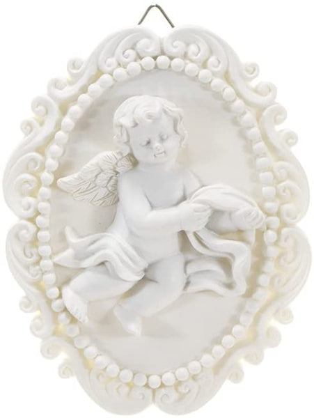 Mega Crafts Religious Wall Décor Angel Figurines Plaque | Poly Resin Construction | Hang Or Wall Mount Via The Hanging Loop | For Praying, Home Décor, Housewarming Gift, Meditation & More
