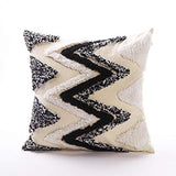 Ailsan Black and White Lumbar Pillow Cover Boho Tribal Pillowcase Neutral Decorative Collection Throw Accent Woven Cotton Tassel Pillow Case for Home Party Car Office Farmhouse