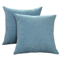 Sunday Praise Cotton-Linen Decorative Throw Pillow Covers,Classical Square Solid Color Pillow Cases,18x18 inches Cushion Covers for Sofa Couch Bed&Car,Pack of 2 (Light Blue)