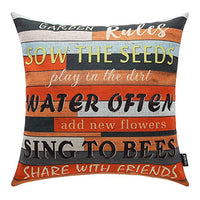 TRENDIN Square Pillow Cover - 18 X 18 Inch Decorative Throw Pillowcase, Porch Rules PL240TR