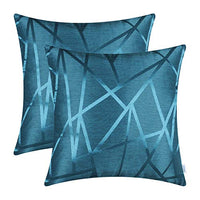 CaliTime Pack of 2 Throw Pillow Covers Cases for Couch Sofa Home Decor Modern Shining & Dull Contrast Triangles Abstract Lines Geometric 18 X 18 Inches Light Blue