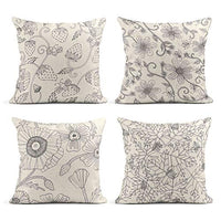 Tarolo Set of 4 Linen Throw Pillow Cover Case Sparklers Floral Patterns Decorative Pillow Cases Covers Home Decor Square 20 x 20 Inches Pillowcases