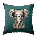 Aremetop Cartoon Lovely Animals Monkey Baby Cotton Linen Home Decor Pillowcase Throw Pillow Cushion Cover 18 x 18 Inches Square Accent Pillow Case (Monkey Baby Holding a Phone & Wearing Headphones)