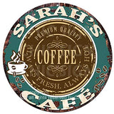 Sarah'S Coffee Cafe Chic Tin Sign Rustic Shabby Vintage Style Retro Kitchen Bar Pub Coffee Shop Man cave Decor Mother's Day Father's Day Housewarming Gift Ideas