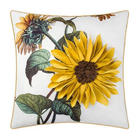 JWH Handmade 3D Sunflower Accent Pillow Case Cushion Cover Green Leaf Sham Decorative Pillowcase Home Bed Living Room Office Chair 18 x 18 Inch Golden Yellow