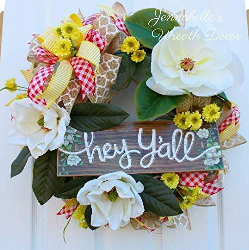 Summer Wreath - Magnolia Decor - Burlap - Deco Wreath - Hey Y'all - Door Decor - Gift