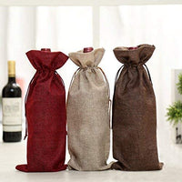 6pcs Christmas Wine Bottle Cover Bags Burlap Wine Bags Christmas Linen Jute Gift Bag Reusable Bottle Wrap Holder Hessian Pouches Perfect for Wedding Christmas Birthday Party Reception Favor