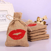 Snow Shape Rustic Burlap Pouch Christmas Gift Sack Party Favors (Set of 10) (Red Heart)