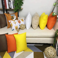 4-Pack Cotton Throw Pillow Case Square Cushion Cover Comfortable Solid Decorative Pillowcase (Cover Only,No Insert)(18x18 inch/ 45x45cm,Yellow)