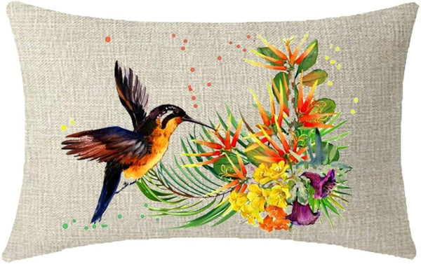 NIDITW Sister Daughter Gift Watercolor Tropical Flowers with Hummingbird Cream Lumbar Wasit Burlap Throw Pillow Cover Pillowcase Pillow Sham Sofa Couch Decorative Rectangle 12x20 Inches