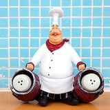 SMANTA French Decorative Chef Figurine Ornaments - 3D Resin Home Decoration with Tray for Gourmet Kitchen Decorations & Collectible Housewarming Gifts