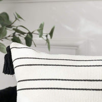 Collive Decorative Throw Pillow Covers with Tassles Modern Double Stripe Printed Pillow Cases Super Soft and Durable Hand Woven Pillow Covers for Couches and Sofas (Black and White, 12x20 Inch)