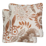 Mika Home Pack of 2 Decorative Throw Pillows Cases Cushion Cover for Sofa Couch Bed,Sunflower Pattern,20x20 Inches,Blue Cream