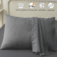 SONORO KATE Luxury Pillowcase Set Brushed Microfiber 1800 Bedding - Wrinkle, Fade, Stain Resistant - Hypoallergenic (Dark Grey, 2 Pillowcases Standard)