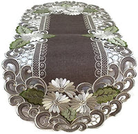 Doily Boutique Table Runner Embroidered with a White Daisy on Brown Burlap Linen Fabric, Size 44 x 15 inches