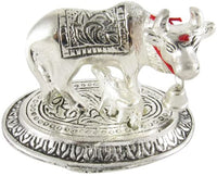 GoldGiftIdeas Oxidized Silver Plated Oval Cow and Calf Idol (Kamdhenu Cow), Home Decor Showpiece for Gift, Indian Pooja Items Silver, Return Gift for Baby Shower and Housewarming (7 x 7 cm) (10)
